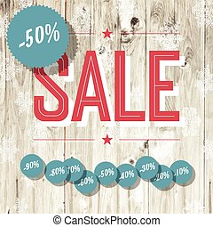 Sale retro poster. Template with wooden texture and...