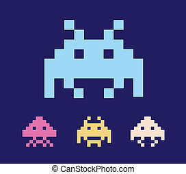 Space Invaders - Illustration of space aliens. Vector...