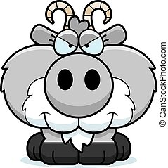 Cartoon Sly Goat - A cartoon illustration of a goat with a...