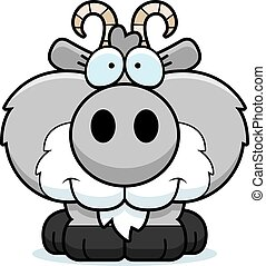 Cartoon Goat Smiling - A cartoon illustration of a goat...
