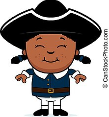 Colonial Child - A cartoon illustration of a colonial child...