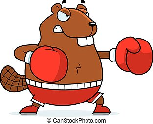 Cartoon Beaver Boxing - A cartoon illustration of a beaver...