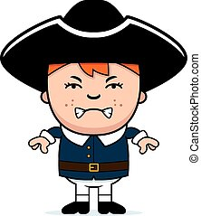 Angry Colonial Boy - A cartoon illustration of a colonial...
