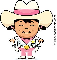 Smiling Little Cowgirl - A cartoon illustration of a child...