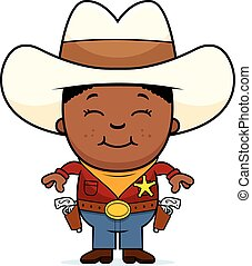 Happy Little Cowboy - A cartoon illustration of a young...