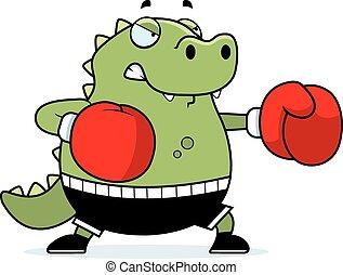 Cartoon Lizard Boxing - A cartoon illustration of a lizard...