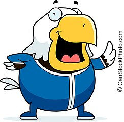 Cartoon Bald Eagle in Pajamas - A cartoon illustration of a...