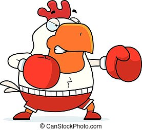 Cartoon Rooster Boxing - A cartoon illustration of a rooster...