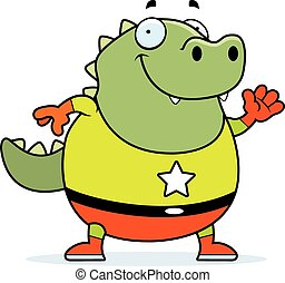 Cartoon Superhero Lizard - A cartoon illustration of a...