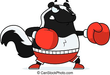 Cartoon Skunk Boxing - A cartoon illustration of a skunk...
