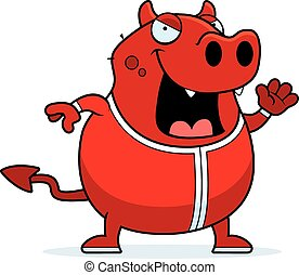 Cartoon Devil in Pajamas - A cartoon illustration of a devil...