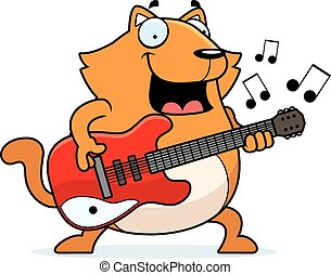 Cartoon Cat Guitar