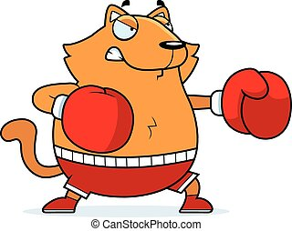 Cartoon Cat Boxing - A cartoon illustration of a cat...