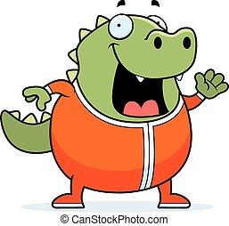 Cartoon Lizard in Pajamas - A cartoon illustration of a...