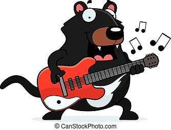 Cartoon Tasmanian Devil Guitar - A cartoon illustration of a...
