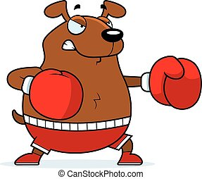 Cartoon Dog Boxing - A cartoon illustration of a dog...