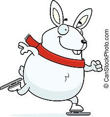 Cartoon Rabbit Ice Skating - A cartoon illustration of a...