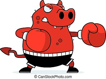 Cartoon Devil Boxing - A cartoon illustration of a devil...