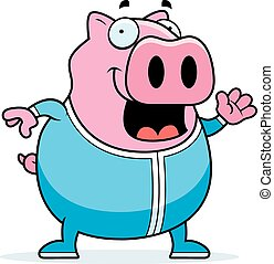 Cartoon Pig in Pajamas - A cartoon illustration of a pig in...
