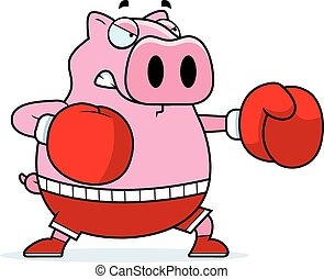 Cartoon Pig Boxing - A cartoon illustration of a pig...