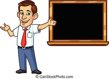 Male Teacher - Vector Illustration of Male Teacher Standing...