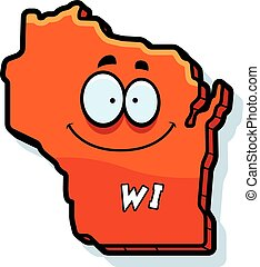 Cartoon Wisconsin - A cartoon illustration of the state of...
