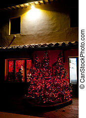 Christmas tree with red lights at Tuscan farm - Tuscan...
