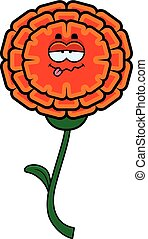 Sick Marigold - A cartoon illustration of a marigold looking...