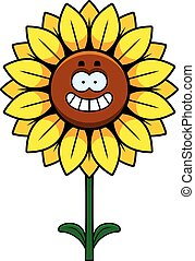 Happy Sunflower - A cartoon illustration of a sunflower...