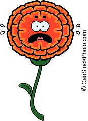 Scared Marigold - A cartoon illustration of a marigold...