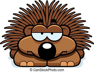 Bored Little Porcupine - A cartoon illustration of a little...