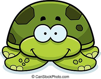 Smiling Little Sea Turtle - A cartoon illustration of a...
