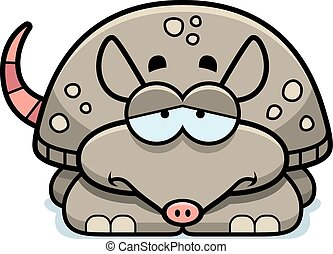 Sad Little Armadillo - A cartoon illustration of a little...