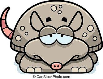 Sad Little Armadillo - A cartoon illustration of a little...