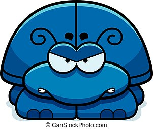 Angry Little Beetle - A cartoon illustration of a little...