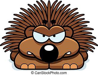 Angry Little Porcupine - A cartoon illustration of a little...