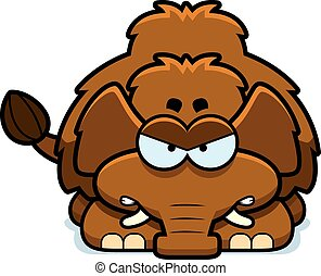 Angry Little Mammoth - A cartoon illustration of a little...