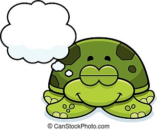 Dreaming Little Sea Turtle - A cartoon illustration of a...