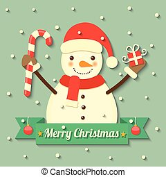 Christmas snowman background - snowman wearing Christmas hat...