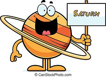 Cartoon Saturn Sign - A cartoon illustration of the planet...