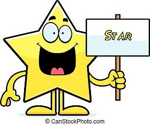 Cartoon Star Sign - A cartoon illustration of a star holding...