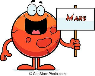 Cartoon Mars Sign - A cartoon illustration of the planet...