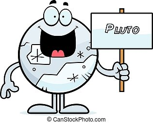 Cartoon Pluto Sign - A cartoon illustration of Pluto holding...