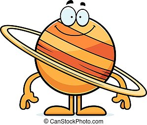 Happy Cartoon Saturn - A cartoon illustration of the planet...