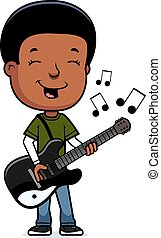 Teen Boy Guitar - A cartoon illustration of a teenage boy...