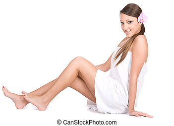 body care - happy young fresh woman in towel