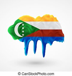 Flag of Comoros painted colors Blot with paint streaks with...