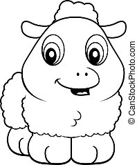 Baby Lamb - A cartoon baby lamb smiling and happy.