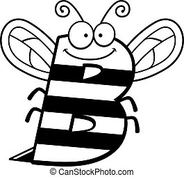 Cartoon B Bee - A cartoon illustration of the letter b with...