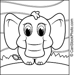 Baby Elephant - A happy cartoon baby elephant standing and...